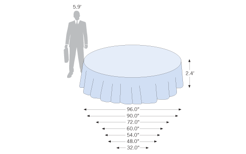 Custom and standard sizes are available for the standard round table cover