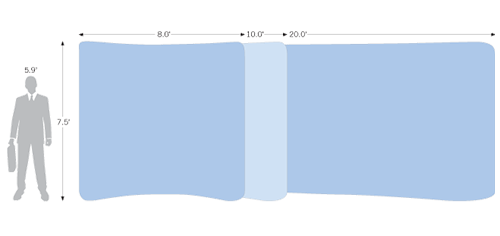 Tension Wall Curved comes in three different sizes