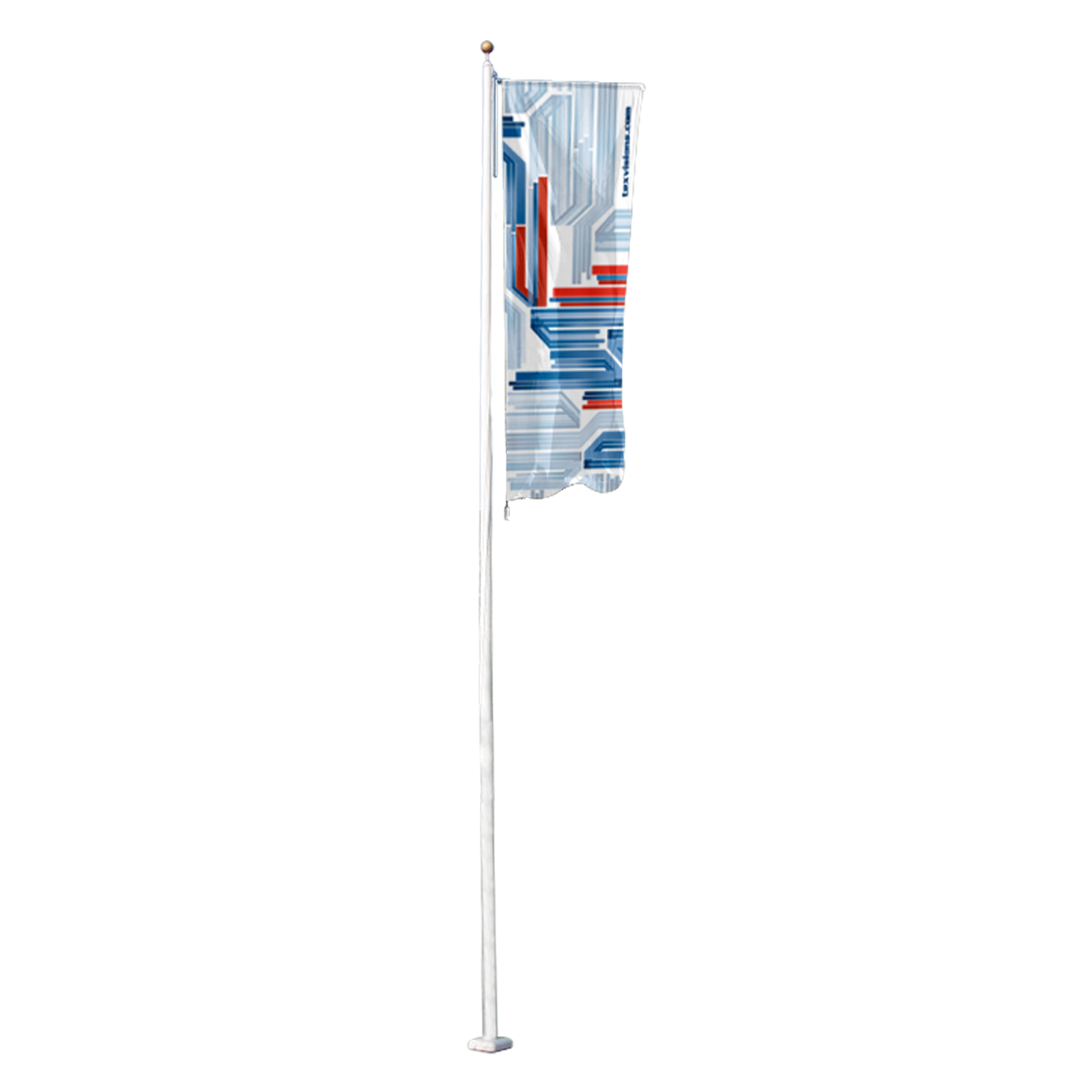 flagpole with banner arm permanent outdoor advertising banner display